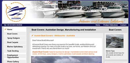 Website Portfolio - Aussie Boat Covers (Melbourne)